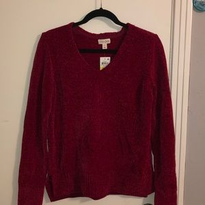 Red chenille sweater NWT